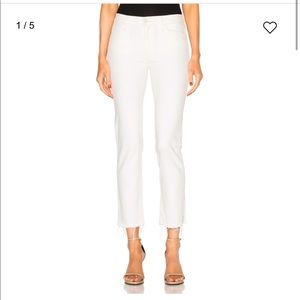 MOTHER The Rascal Ankle Snippet White Pants